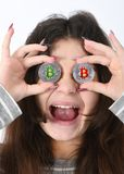 Girl holding cryptocurrency royalty free stock photos
