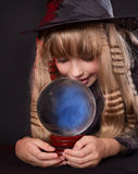 Girl holding crystal ball. Royalty Free Stock Photo