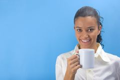 Girl holding cup Royalty Free Stock Photography