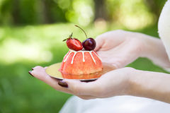 Girl holding cupcake decorated with berries Stock Photography