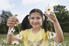 Girl Holding Daisy Chains In Meadow Stock Images