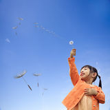 Girl with is holding dandelion in hand while standing on with ni Stock Photos