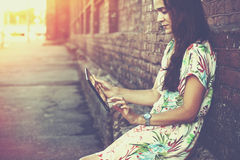 Girl holding digital tablet pc Royalty Free Stock Images