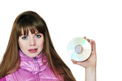 Girl holding disk Stock Images