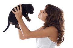 Girl holding dog Royalty Free Stock Photography