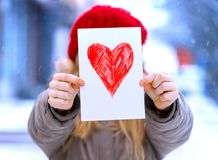 Girl with  heart Royalty Free Stock Images