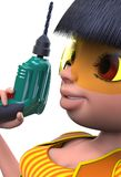 Girl with a drill. Girl holding the drill in his right hand. Yellow protective glasses on the eyes. 3D illustration Royalty Free Stock Images