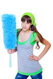 Girl holding duster Royalty Free Stock Image