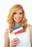 Girl holding Dutch flag Royalty Free Stock Photo
