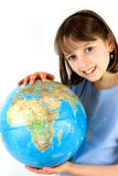 Girl holding the Earth Stock Photos