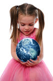 Girl Holding the Earth Stock Photography