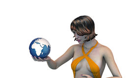 Girl holding the earth in her hand Royalty Free Stock Images