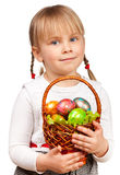 Girl holding Easter basket Stock Photos
