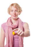 Girl Holding Easter Egg in front of the Cameras Stock Images