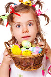 Girl holding  Easter eggs Stock Photo