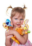 Girl holding easter eggs and easter bunny Stock Photos