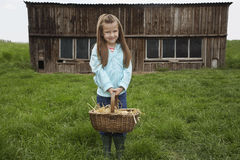 Girl Holding Egg Basket At Farm Stock Image
