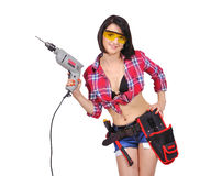 Girl holding electric drill Stock Photo