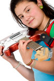 Girl holding an electric red guitar Royalty Free Stock Image