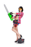 Girl holding electric saw Stock Images
