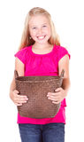 Girl holding empty basket Stock Photo