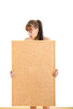 Girl holding empty board with advertising space for message stock images