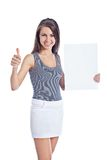 Girl holding empty board Royalty Free Stock Photo