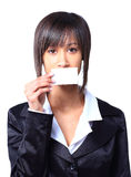 Girl holding empty business card Royalty Free Stock Photos
