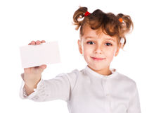Girl holding empty card. Isolated on a white background Stock Photo