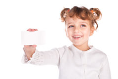 Girl holding empty card Stock Photos