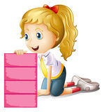 A girl holding an empty pink signage. Illustration of a girl holding an empty pink signage on a white background Royalty Free Stock Images