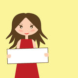 Girl holding an empty plate for text Stock Image
