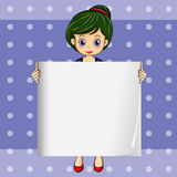 A girl holding an empty signage. Illustration of a girl holding an empty signage Stock Photography