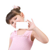 Girl holding empty white board Stock Photos