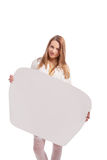 Girl holding empty white board isolated Royalty Free Stock Photography