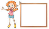 A girl holding an empty wooden blank board Royalty Free Stock Photography