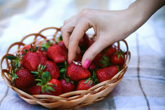 Girl holding an engagement ring near a strawberry. The girl`s hand holds an engagement ring near a wicker basket with strawberries. Still life. concept of Royalty Free Stock Photography