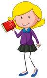 Girl holding English alphabet book Stock Photos