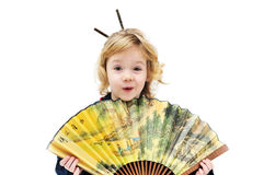 Girl holding fan Royalty Free Stock Photos