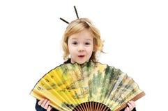 Girl holding fan royalty free stock photos