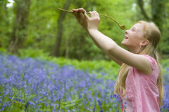 Girl holding fiddlehead fern in field of bluebell flowers Royalty Free Stock Images