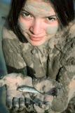 Girl holding fish Royalty Free Stock Photo