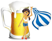 A girl holding the flag of Greece in front of a big mug of beer Royalty Free Stock Photography
