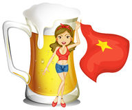 A girl holding the flag of Vietnam in front of a big mug of beer Royalty Free Stock Image