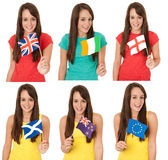 Girl holding flags Stock Photo