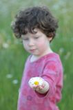 Girl holding flower. On a sunny spring day Stock Photography
