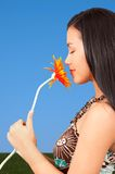 Girl holding flower Royalty Free Stock Image