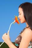 Girl holding flower Royalty Free Stock Image