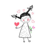 Girl Holding Flower Red Heart Shape Love Drawing Simple Line Royalty Free Stock Photo