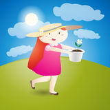 Girl is holding a flowerpot Royalty Free Stock Images